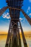 U Bein most Taungthaman Jeziorny Amarapura Myanmar obraz stock