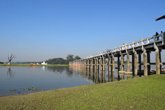 U Bein most w Amarapura, Mandalay, Myanmar Obraz Stock