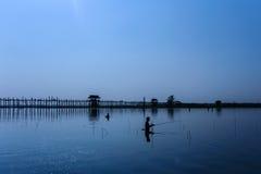 U Bein's Bridge. The world's longest teak footbridge in Mandalay, Myanmar Royalty Free Stock Photography