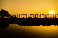 U Bein's Bridge. The world's longest teak footbridge in Mandalay, Myanmar Royalty Free Stock Image