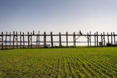 U Bein's Bridge. The world's longest teak footbridge in Mandalay, Myanmar Stock Photography