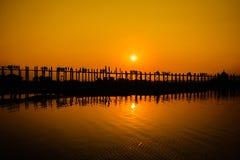 U Bein's Bridge. The world's longest teak footbridge in Mandalay, Myanmar Stock Photos