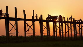 U Bein Sunset Time Lapse People. Time lapse. U Bein Bridge at sunset. Amarapura, Myanmar stock video footage