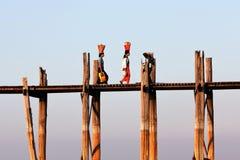 U-Bein teak bridge in Amarapura, Myanmar Stock Photo
