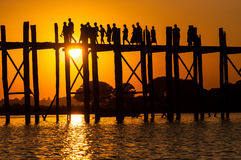 U-Bein teak bridge is the longest Royalty Free Stock Image