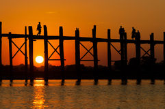 U-Bein teak bridge is the longest Stock Image