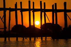 U-Bein teak bridge Royalty Free Stock Image