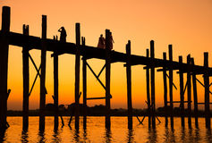 U-Bein teak bridge Stock Photos