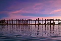 U-bein teak bridge in Mandalay Myanmar. At sunset Stock Photo
