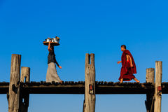 U Bein Teakwood Bridge  , Amarapura in Myanmar (Burmar) Stock Photos