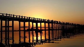 U Bein Wooden Bridge at Sunset 1. Famous U Bein bridge in Amarapura, near Mandalay in Myanmar (Burma) at sunset stock footage