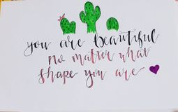U bent mooi geen kwestie welke vorm u bent! stock illustratie