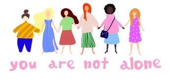 U bent niet alleen Vrouwen of meisjes die zich en handen verenigen houden Groep vrouwelijke vrienden, unie van feministes vector illustratie