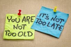 U bent niet te oud Stock Afbeelding