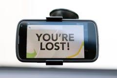 U bent Verloren type op een slimme telefoon van GPS royalty-vrije stock afbeelding