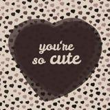 'u bent zo leuke' typografie De Kaart van de de Dagliefde van Valentine Vector illustratie Stock Afbeeldingen