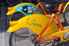 U Bike, a Bicycle share program in Taipei. TAIPEI, TAIWAN CIRCA JULY 2016. U Bike, a Bicycle share program in Taipei, gives residents and tourists one more Stock Photography