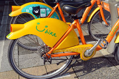 U Bike, a Bicycle share program in Taipei. TAIPEI, TAIWAN CIRCA JULY 2016. U Bike, a Bicycle share program in Taipei, gives residents and tourists one more Royalty Free Stock Photo