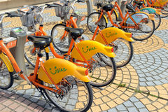 U Bike, a Bicycle share program in Taipei. TAIPEI, TAIWAN CIRCA JULY 2016. U Bike, a Bicycle share program in Taipei, gives residents and tourists one more Stock Photo