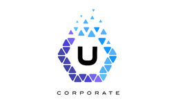 U Blue Hexagon Letter Logo with Triangles. U Blue Hexagon Letter Logo Design with Blue Mosaic Triangles Pattern stock illustration