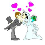 U can kiss the bride. Cartoon style illustration that shows a wedding image of a sweet kiss. Hi-Res image perfect for web, wedding cards, etc...Also available as royalty free illustration