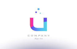 u creative pink blue modern alphabet letter logo icon template Stock Photos
