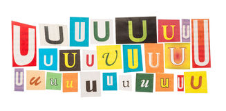 U cut out letters set Royalty Free Stock Photography