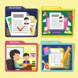 U-de pictogrammen van het rekruteringsproces in vlak ontwerp worden geplaatst dat Stock Foto