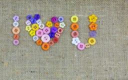 ¤U del  de Iâ, te amo sinónimo hecho de los botones coloridos Imágenes de archivo libres de regalías