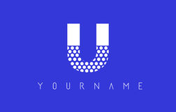 U Dotted Letter Logo Design with Blue Background. Stock Photo