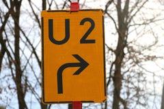 U2 drogowy znak, Niemcy Zdjęcia Stock