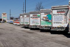 Lafayette - Circa April 2018: U-Haul Moving Truck Rental Location. U-Haul offers moving and storage solutions IV. U-Haul Moving Truck Rental Location. U-Haul Royalty Free Stock Photo