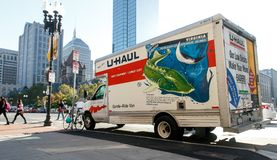 U-Haul truck. Parked in central Boston stock images