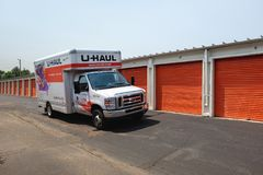 U-Haul truck parked at a public storage Royalty Free Stock Photography