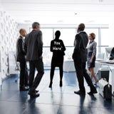 U hier concept Het vinden van uw bedrijfsidentiteit door leiding, groepswerk, ambitie ect stock illustratie