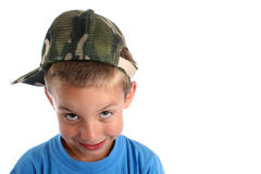 U jongen in heldere blauwe kleding Royalty-vrije Stock Foto's