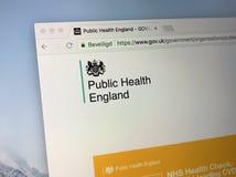 U K rzędu homepage dla zdrowie publiczne Anglia, Zdjęcie Stock