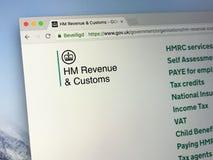 U K rzędu homepage Jej majestata ` s dochód i Customs Obrazy Stock