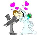 U kan de bruid kussen royalty-vrije illustratie