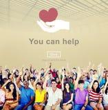 U kunt Hulpliefdadigheid helpen die Steunconcept helpen stock afbeeldingen