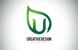 U Leaf Logo Letter Design with Green Leaf Outline Stock Photos