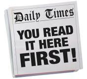 U leest het hier eerst Exclusieve Krantenkrantekop 3d Illustrat royalty-vrije illustratie