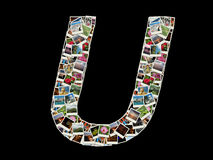U letter - collage of travel photos Royalty Free Stock Photos