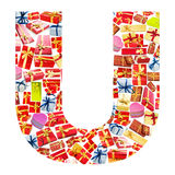 U Letter  made of giftboxes Royalty Free Stock Photography