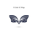 U-letter sign and angel wings.Monogram wing vector logo template Stock Photography
