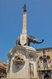 U Liotru eller den Fontana dell'Elefanten Arkivfoton