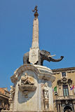 U Liotru, or the Fontana dell'Elefante. In the Cathedral Square of Catania, Sicily stock photos