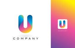U Logo Letter With Rainbow Vibrant Mooie Kleuren U Kleurrijk T Royalty-vrije Stock Fotografie