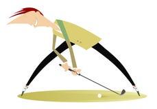 U?miechni?ty golfista na pole golfowe ilustraci royalty ilustracja