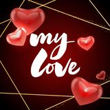 U mijn liefde - het van letters voorzien van het achtergrond bannerpatroon slogan royalty-vrije illustratie